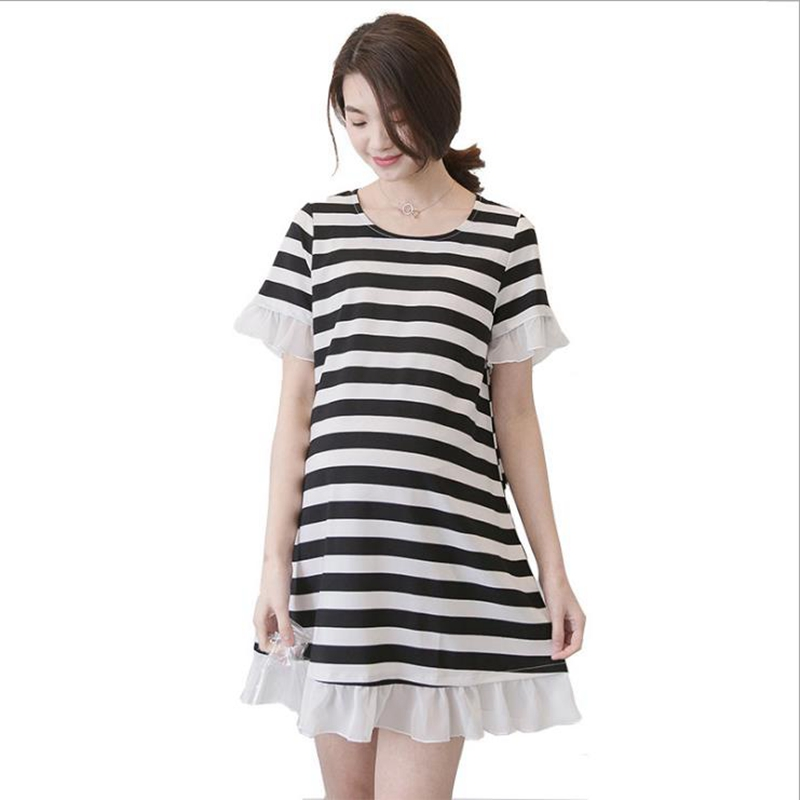 Fashion summer Pregnant woman dress Stripe Elegant Pregnant dress ropa verano mujer Maternity clothes Pregnant clothes grossesse