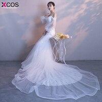 XCOS Spaghetti Straps Beach Wedding Dresses 2018 Vestido Noiva Praia Simple White Casamento Mermaid Bridal Gown Custom Made