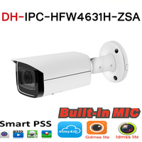 DH IPC HFW4631H ZSA 6MP IP Camera Upgrade from IPC HFW4431R Z Build In MiC Micro SD Card Slot 5X Zoom PoE Camera with logo