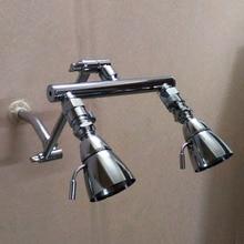 Высокое качество двойной душ руководители регулируется 9 » душ коллектор рука + пару запорные клапаны