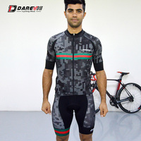 Darevie Breathable Pro Team Sublimation Cycling Suits Man Short Sleeve Bib Sets