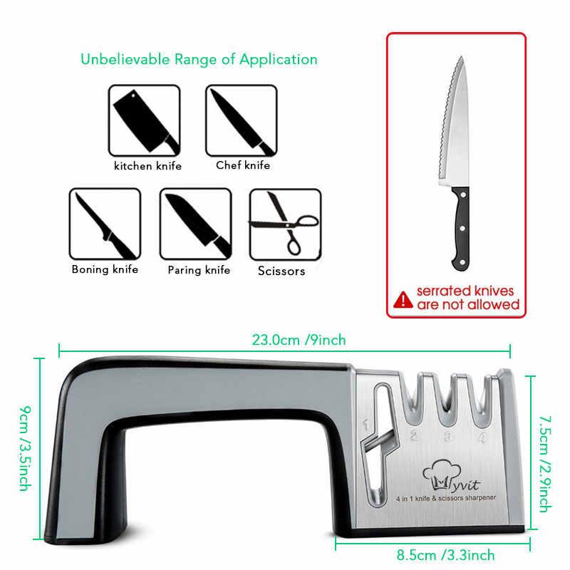Myvit Messer Spitzer 4 in 1 Diamant Beschichtet & Feine Stange Messer Schere und Schere Schärfen System Edelstahl Klingen