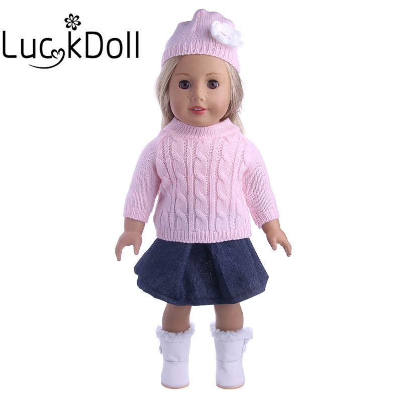 Sweater+Skirt+Wool Cap With Flower Fit 18 Inch American&43 CM Baby Doll Clothes Accessories,Girl's Toys,Generation,Birthday Gift