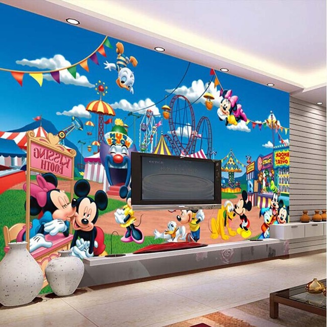 cartoon mickey mouse wallpaper cute mural photo giant wall decor poster children playground. Black Bedroom Furniture Sets. Home Design Ideas
