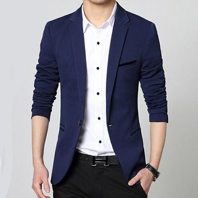 2015 New arrival casual men blazer slim fit one button black mens ...