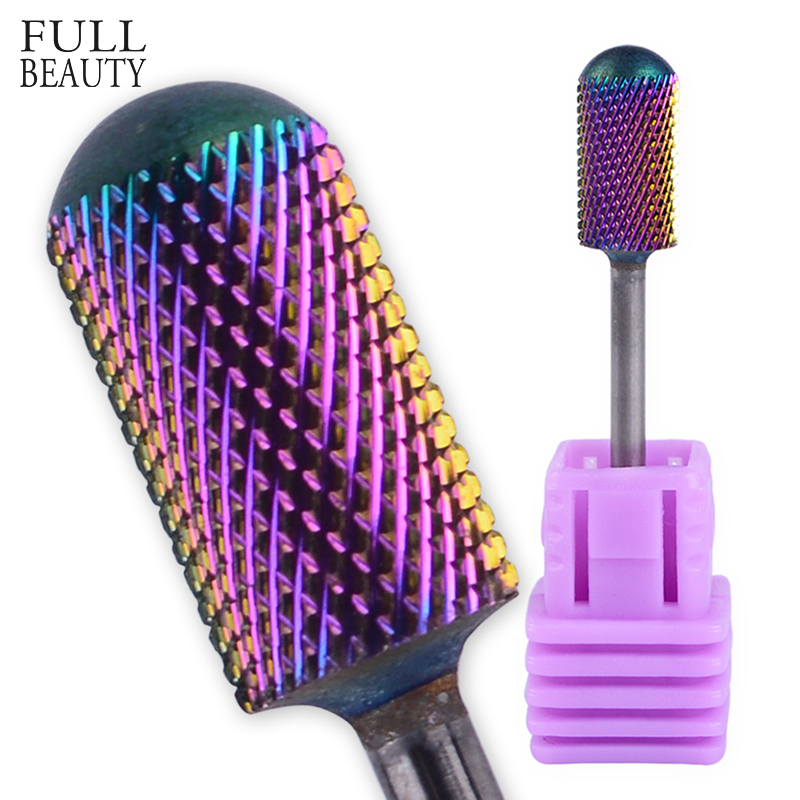 Full Beauty 1pcs Tungsten Gradient Carbide Burrs Nail Drill Bit Round Rotary Nail Mills Electric Machine Manicure Files CHD06