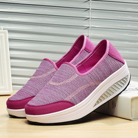 Ladies Mesh Flats Spring Autumn Female Shoes Platform Rose Red Black Casual Shoes Comfortable Slip On Shoes For Women