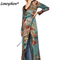 Loneyshow Summer Dress 2017 Vintage Printed Cardigan Kimono Dress Cross V Neck Long Sleeve With Belt