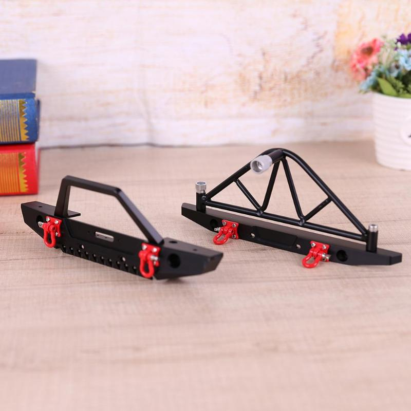 Metal RC Crawler Truck Front Rear Bumper with LED Light for Axial SCX10 90046 RC Crawler Car High Quality professional rc car front bumper with