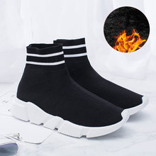 Sooneeya Autumn Stretch Sock Boots Women Winter Snow Fur Ankle Boots Unisex Shoes Big Size 45 Brand Sock Shoes Couple Sneakers(China)