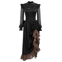 Women's dresses Steampunk Gothic Victorian Renaissance evening party club Long Sleeve Ruffled ruched vintage Dress retro elegant