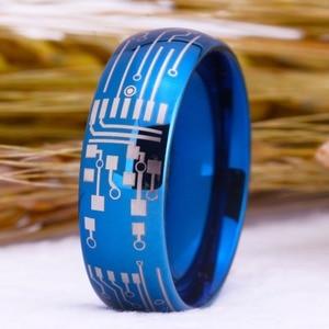 Image 2 - Romantik Moda Alyans Için Sevgilisi Mavi Renk Tungsten Yüzük Nişan Parti Takı Düğün Bantları devre Halka