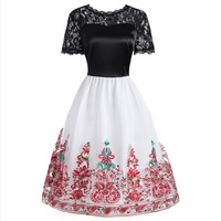 Women Dress 2018 New Brand Spring Dress For Womens Ladies Lace Patchwork Mesh Emboridery Flowers Swing