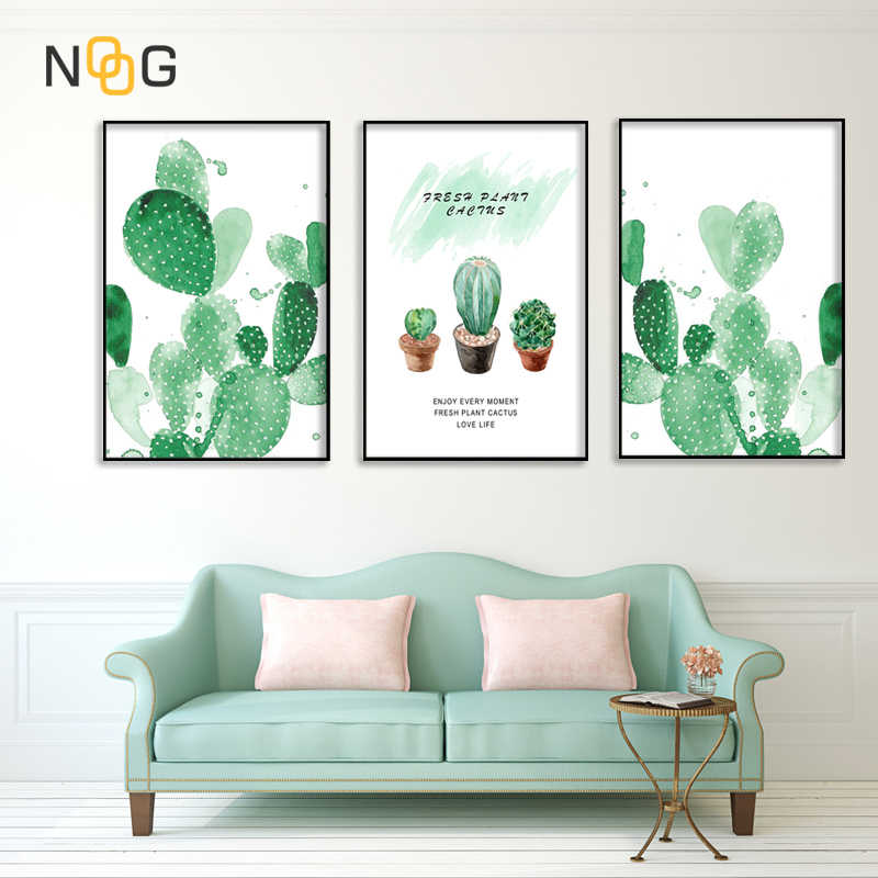 NOOG Green Cactus Poster Wall Art Canvas Painting Nordic Posters And Prints Watercolor Decoration Pictures Living Room Salon