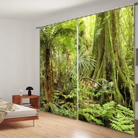Green Tree Forest Print Luxury 3D Blackout Curtain For Bedding Room Living Room Home Decorative Hotel