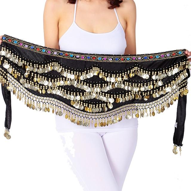 เซ็กซี่เทศกาลผ้าพันคอสะโพกทองเหรียญผู้หญิงBellyเต้นรำประสิทธิภาพกระโปรงสะโพกOriental/อินเดียBelly Danceเข็มขัดเหรียญ