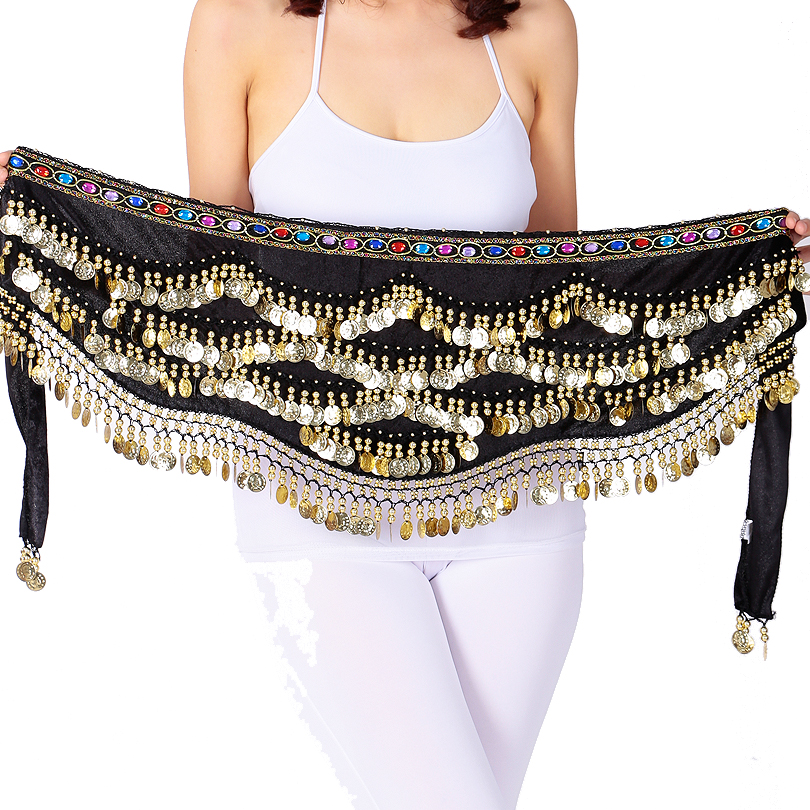 Seksi Festival Syal Emas Hip Scarf Wanita Belly Dancing Hip Skirt Oriental / Indian Belly Dance Coin Belt