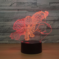 3D Led Spider Man Nightlight Kids Touch Button Super Hero Usb Acrylic Table Lamp 7 Color