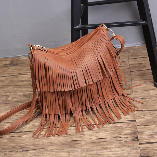 Women's Vegan Leather Bag with Tassels