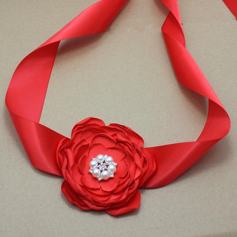saten e kuq Lule brez dhe shirita kokrrizë me dasmën e perlave - Aksesorë veshjesh - Foto 2
