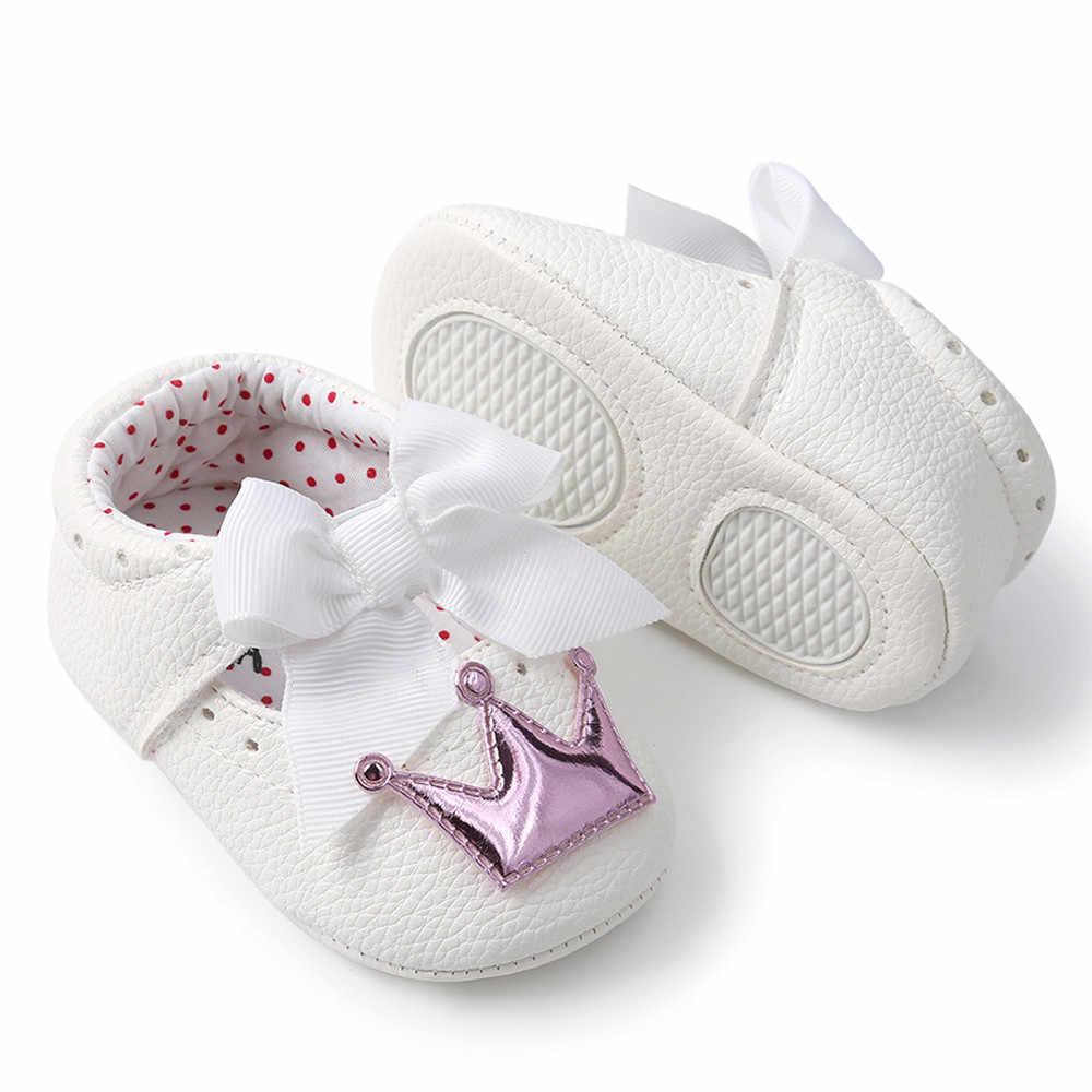 תינוק בנות נעלי סופ יילוד תינוק שלב נעלי Bowknot כתר נסיכת נעלי סגול זהב צבע Breathtable Chaussure