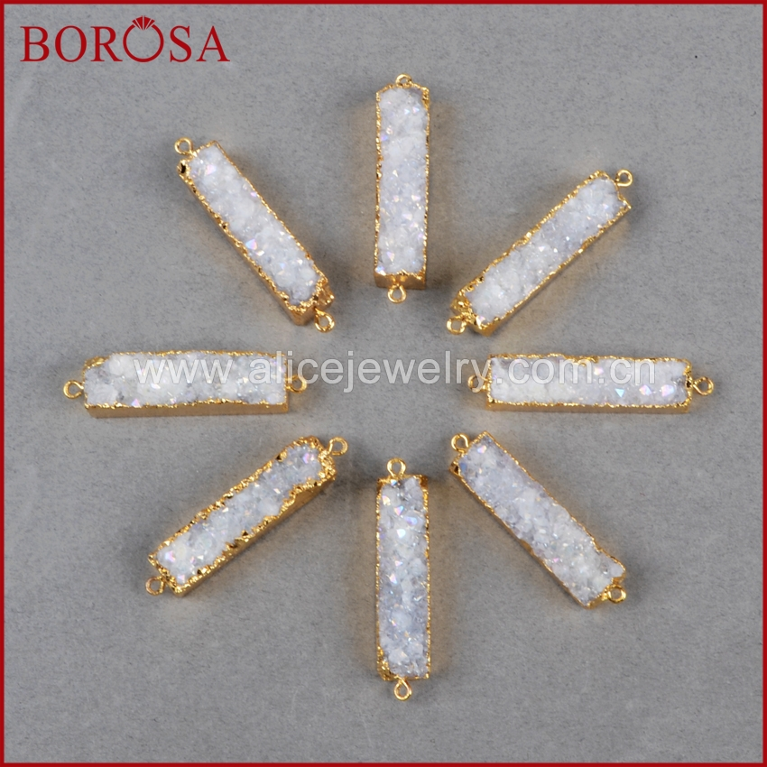 BOROSA Rectangle Natural Stone Titanium AB Druzy Charm Connector Stone Drusy Geode Gold Connector Pendant DIY Bracelet G0501-in Pendants from Jewelry & Accessories    3