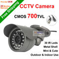 NGtechnic promoción Caliente 700tvl CMOS 30 leds IR cámara Bala Mini Cámara de Seguridad CCTV A Prueba de agua Al Aire Libre y de interior