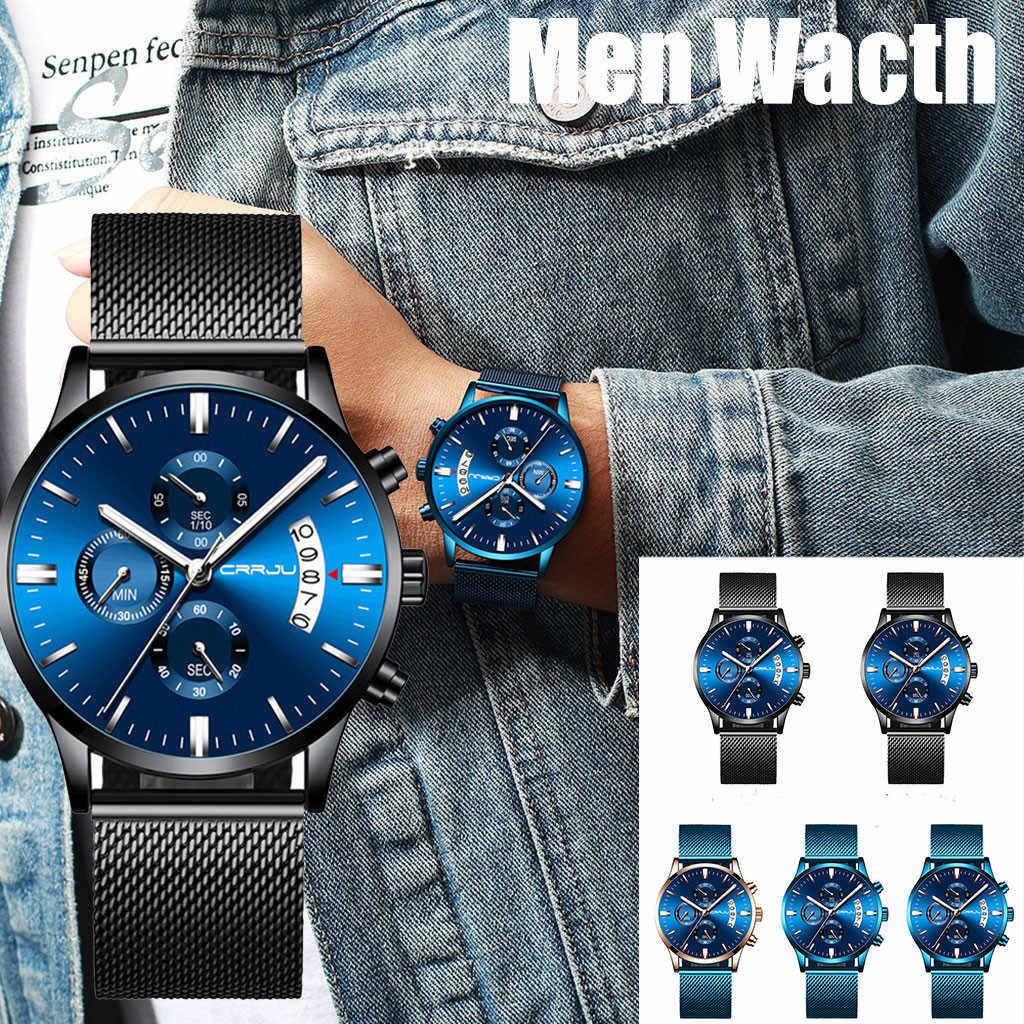 CRRJU גברים של שעון לוח עמיד למים פלדת רשת עם הכרונוגרף קוורץ שעון Мужские часы relógio masculino