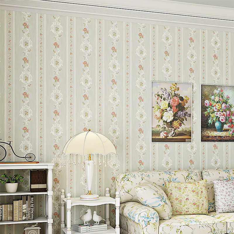 Unique Bedroom Wallpaper Warm Green Bedroom Colors Boys Bedroom Furniture Feng Shui Bedroom Bed Position: Pastoral Flowers Nonwovens Wallpaper Bedroom Warm Romantic