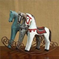 Shabby Chic Style Wooden Rocking Horse Childhood Memory White Hobbyhorse Figurine