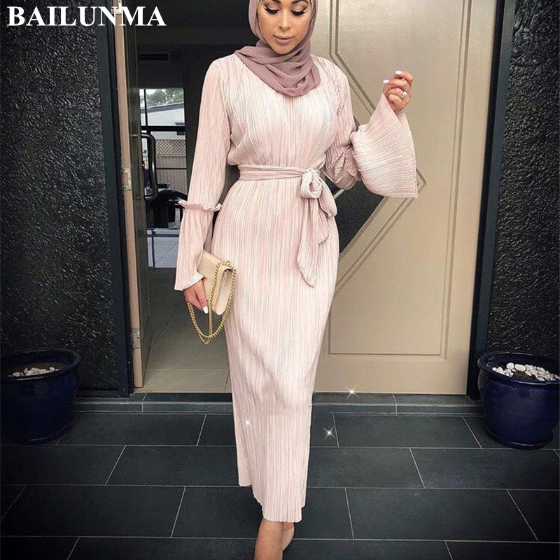 Fashion Pleated Muslim Dress Including The Belt Abaya Dubai Islamic Clothing Caftan Marocain Muslim Abaya Dress Saudi Arab