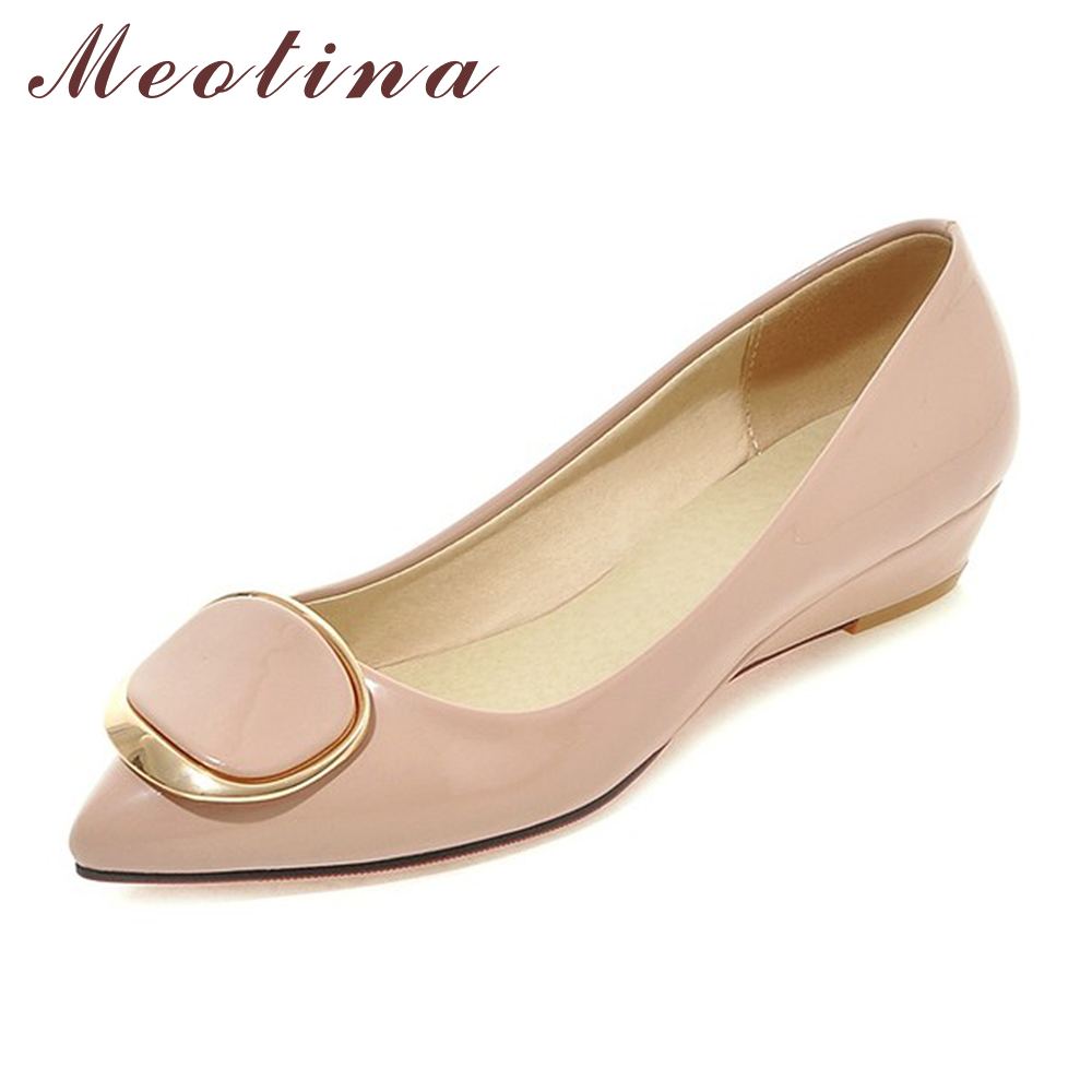 Meotina Women Shoes Wedge Heels Bridal Wedding Shoes Spring Low Heels Pumps Ladies Shoes Pumps Slip On Pink White Big Size 42 43 meotina shoes women wedge heels ladies shoes pointed toe lady pumps autumn female work shoes wedges green apricot big size 42 43