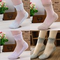 1Pair Women Lace Ruffle Ankle Sock Soft Comfy Sheer Silk Cotton Elastic Mesh Knit Frill Trim Transparent Ankle Socks
