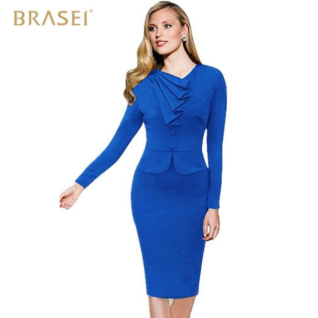 BRASEI 2016 Spring Autumn Long Sleeve Fashion Women Dress Casual Office  Style Dress Ladies Bling Party Pencil Slim Black Dresses 6744a98bfeae