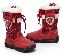 Children Snow Boots Girls Winter Warm Shoes Plush Waterproof High Quality Fur Patch Kids High Boots Red Color