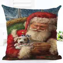 New Cartoon Santa Claus Square Linen Pillowcase Merry Christmas Happy New Year Decorations