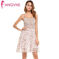 ANGVNS Women Spaghetti Strap Floral Print Casual Chiffon Fit And Flare Dress Summer Spring 2018 Robe
