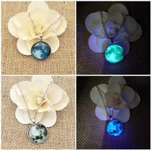 Fashion Design Glow In the Dark Necklace Popular Bright Full Moon Female Shining in Pendant Luminous Accessories