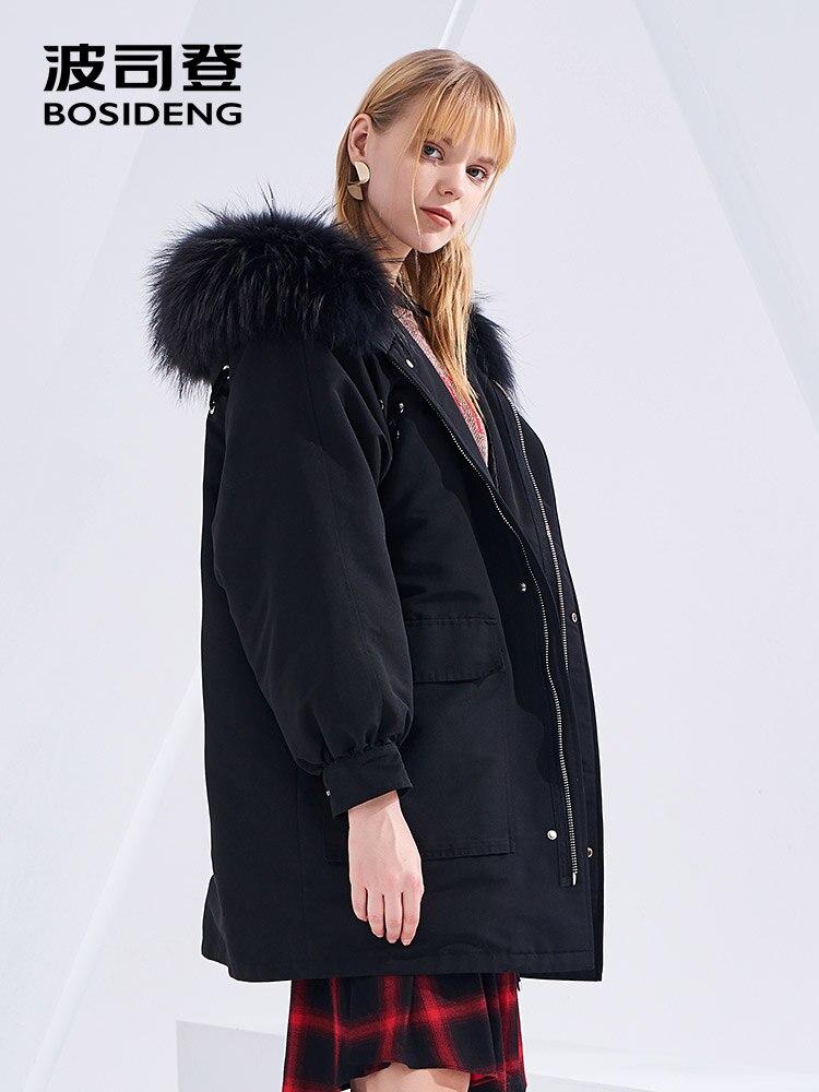 BOSIDENG 2018 women   down     coat   winter thicken outwear loose big fur collar high quality warm outwear B80141520DS
