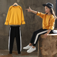 Kids Clothes Set Fashion Teen Girls Tracksuits Autumn Sets Long Sleeve yellow Red 2pcs Children Suits Age 4 6 8 10 12 14 Yrs