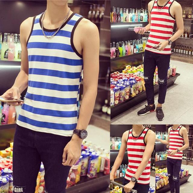 Men's New Fashion Casual Summer Slim Vest Men Sleeveless Round Collar Stripe Pattern Elastic Casual Tops Shirt