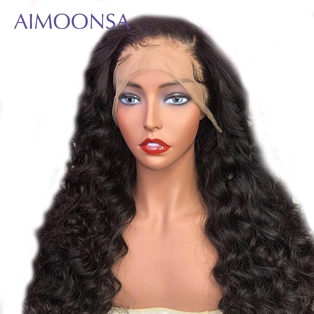 250 Density Lace Wig Glueless Full Lace Wigs Human Hair With Baby Hair Loose Wave Wig Raw Indian Hair Ponytail Remy Aimoonsa
