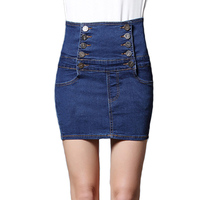 Women Sexy High Waist Buttons Korean Style Mini Denim Skirts Summer Bandage Empire Short Jeans Skirt