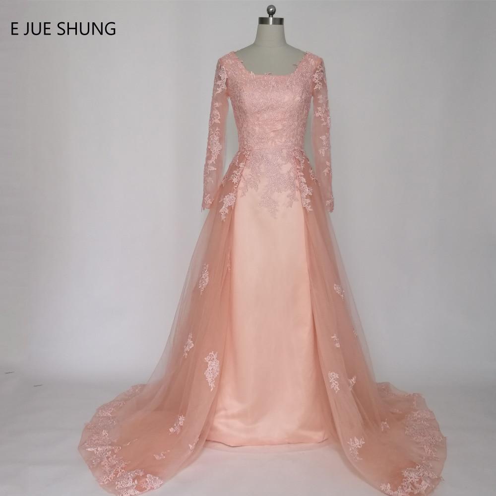 E JUE SHUNG Roosa pitsist aplikatsioonid Pikad varrukad Pikk õhtukleidid A-line õhtukleidid ametlik kleit abendkleider robe de soiree