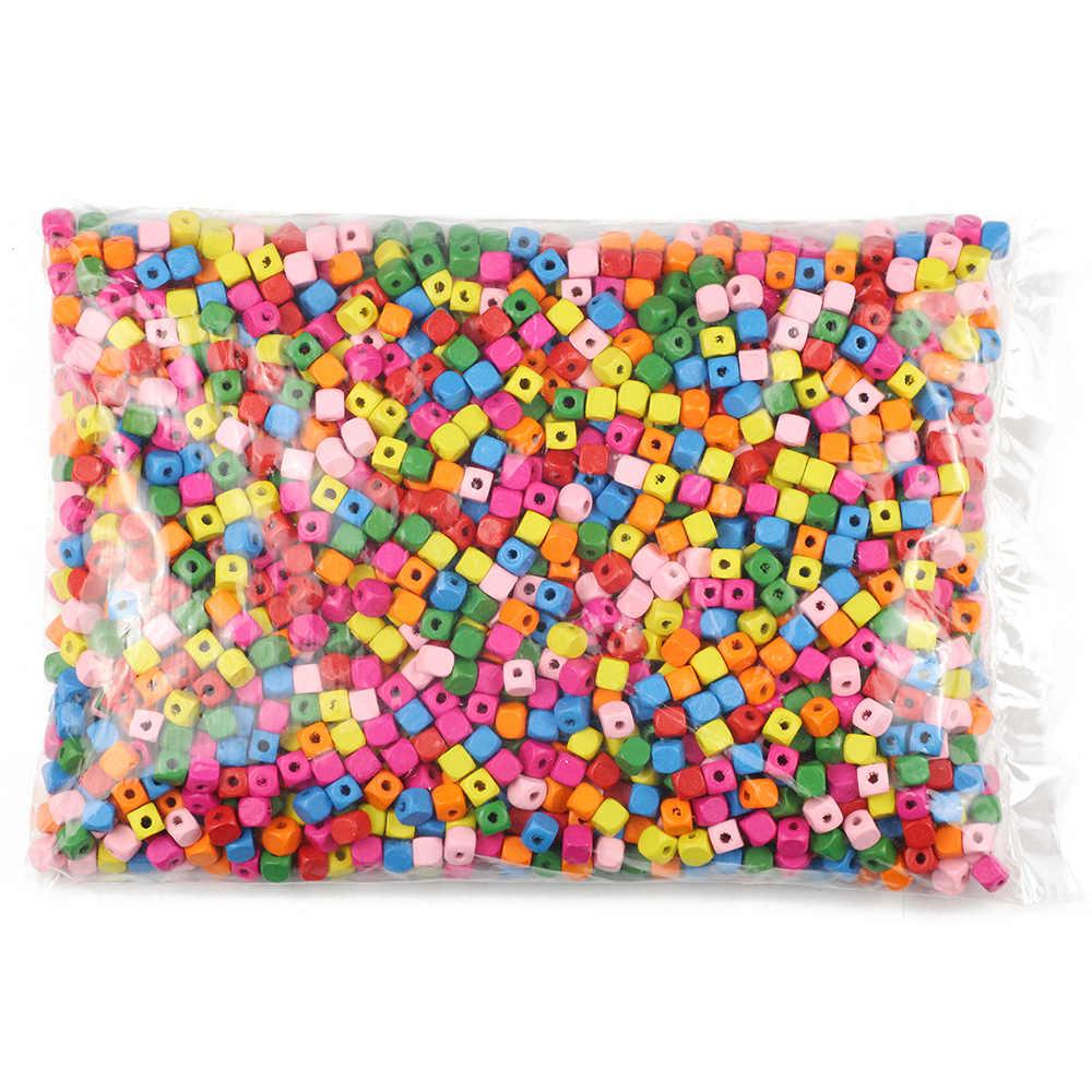 JHNBY 100pcs 8/10mm Vierkante Hout Beadding Gemengde Kleur Losse Kralen voor Sieraden Maken DIY Ketting & armbanden Milieuvriendelijke Houten