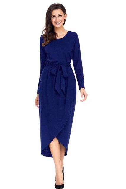 Autumn Plus Size S-2XL Dresses Women Office Navy Long Sleeve Tulip Faux  Wrap Sash b21e5f5c8896