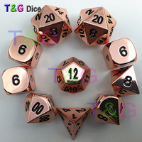 Hot Rose Gold Color Metal Dice Glossy Faces D4 3xD6 D8 D10 D12 2xD20 with Iron Box for Card Game