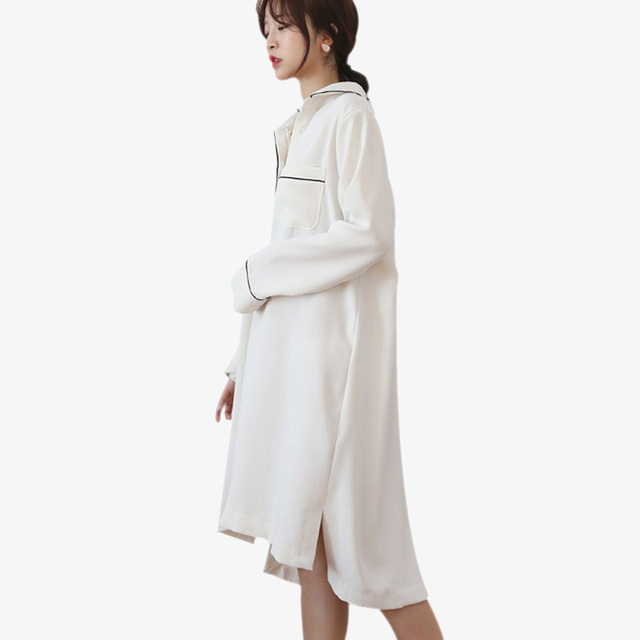 8e4b2f8f25d8 yomrzl A387 New arrival spring and autumn women s nightgown white one piece  sleepwear long sleeve sleep dress indoor clothes