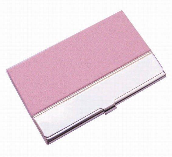 10 шт./партия из нержавеющей стали+ искусственная кожа бедж держатель для визиток, может сделать логотип NMS013 - Цвет: pink