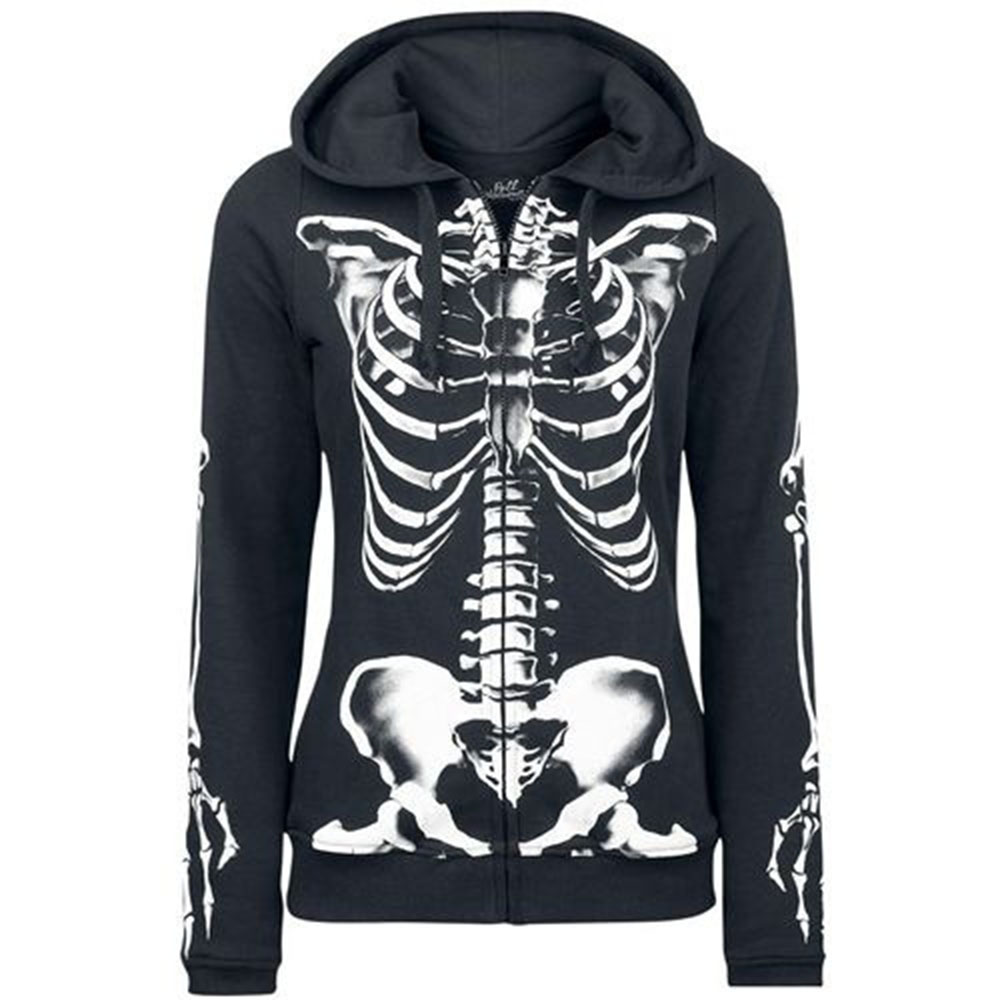 3D Print 2018 Autumn Gothic Hoodies Women Halloween Skull Theme Pullover Causal Loose 5XL Plus Size Hoodies Sweatshirts Femme